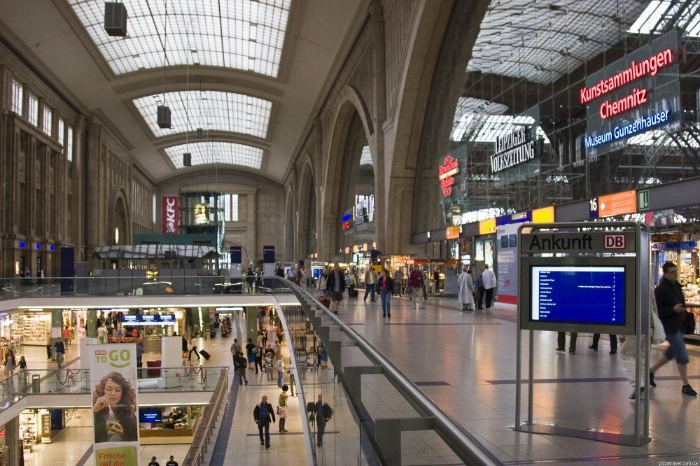 Железнодорожный вокзал Лейпцига самый крупный в Европе.