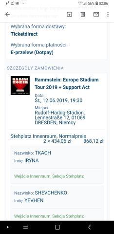 Rammstein 2 e-билеты 12. 06. 2019 dresden