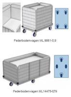 Rollwagen mit federboden für wäschelogistik. Modell ml 8661-0. 9