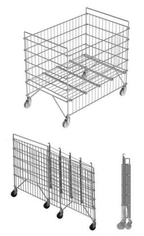 Klappbare armierter rollwagen (rollenkorb) für wäschelogistik. Modell sk 9060-0,82
