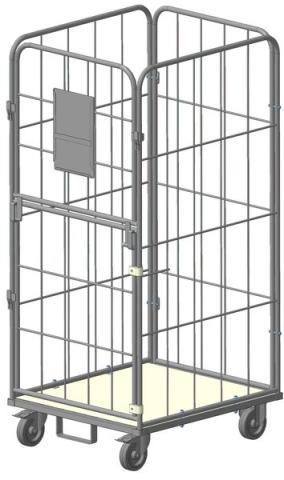 Gitter rollcontainer mit klappbare (oben) und drehende (unten) türen für wäschelogistik.