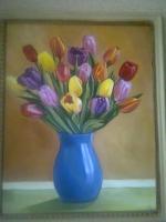 Картина лошадь, тюльпаны